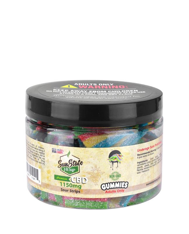 SunState Hemp CBD 1150mg Sour Strips Gummies