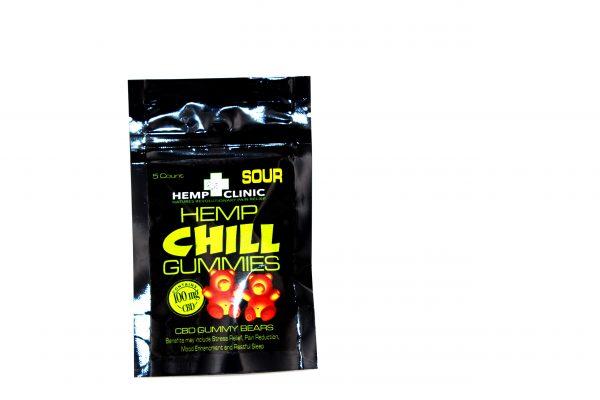 Hemp Clinic Chill CBD Gummies 100mg 5ct/pk- SOUR