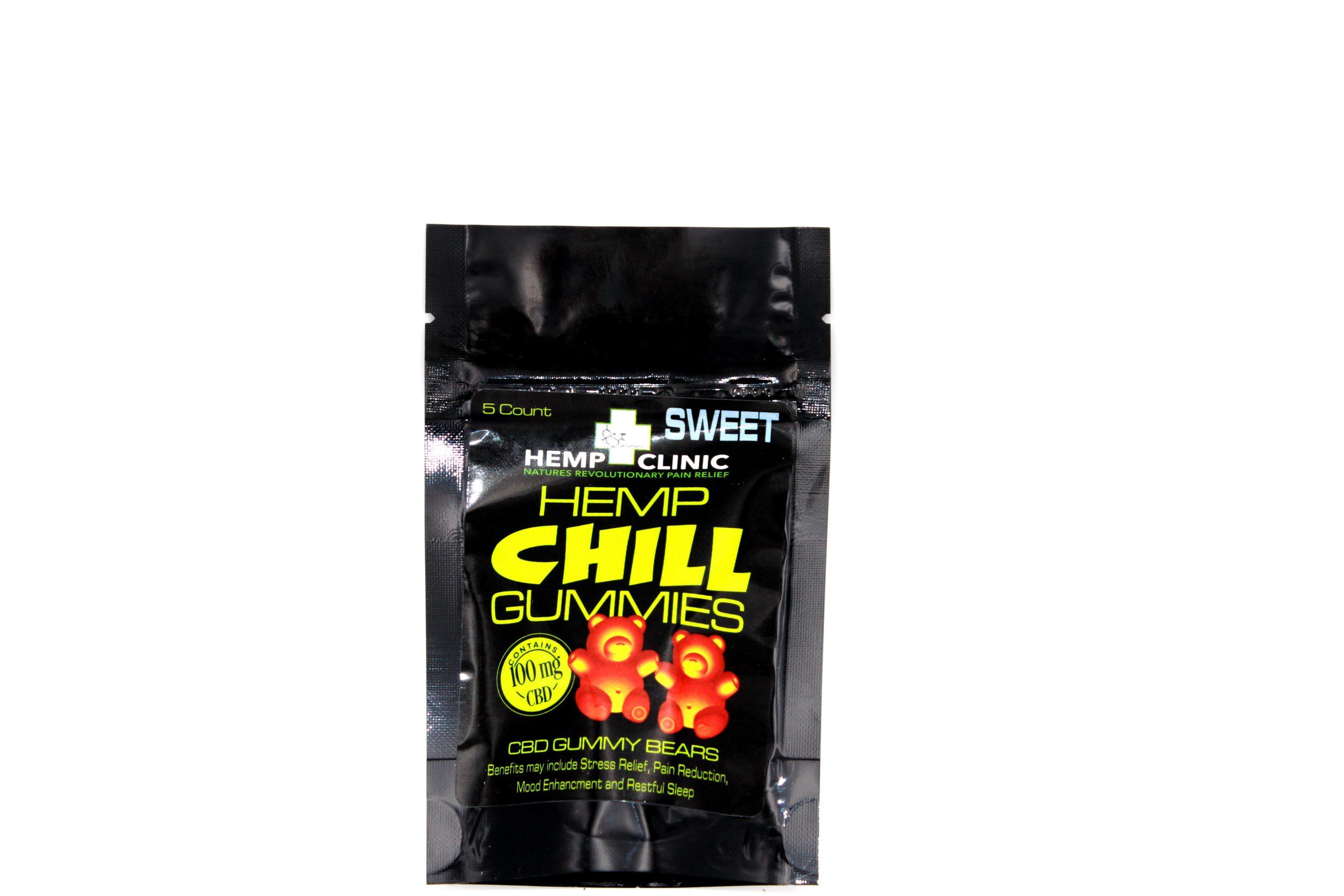 Hemp Clinic Chill CBD Gummies 100mg 5ct/pk- SWEET