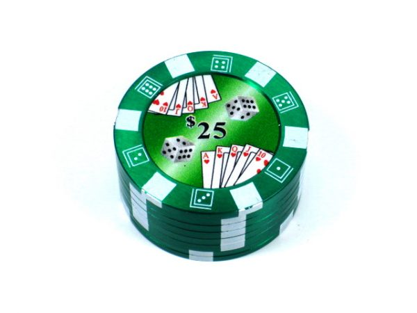 Metal Herb Grinder 3 part Poker chip design Green