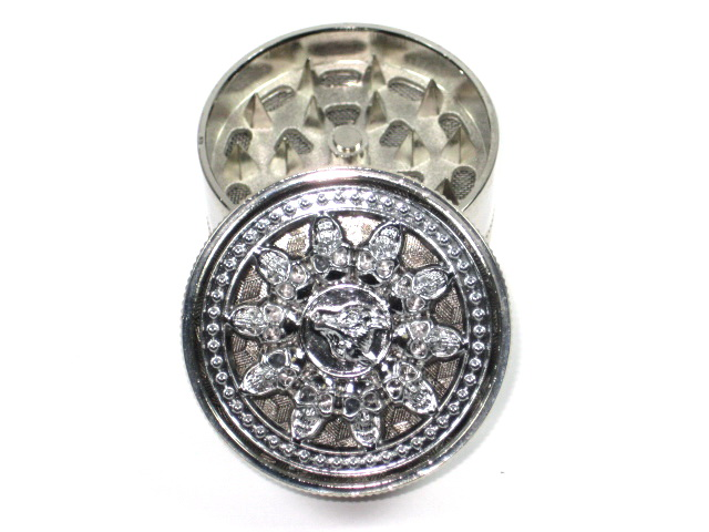 Metal Herb Grinder 3 part Chrome plated Spinner wheel