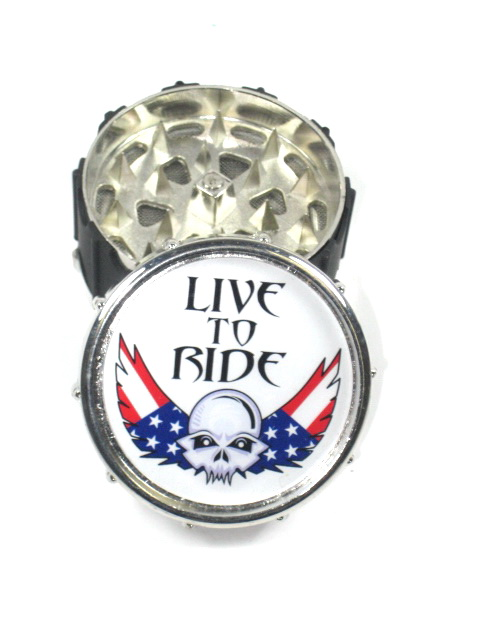 "Metal Herb Grinder 3 part ""live to Ride USA Flag"