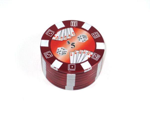 Metal Herb Grinder 3 part Poker chip design Red